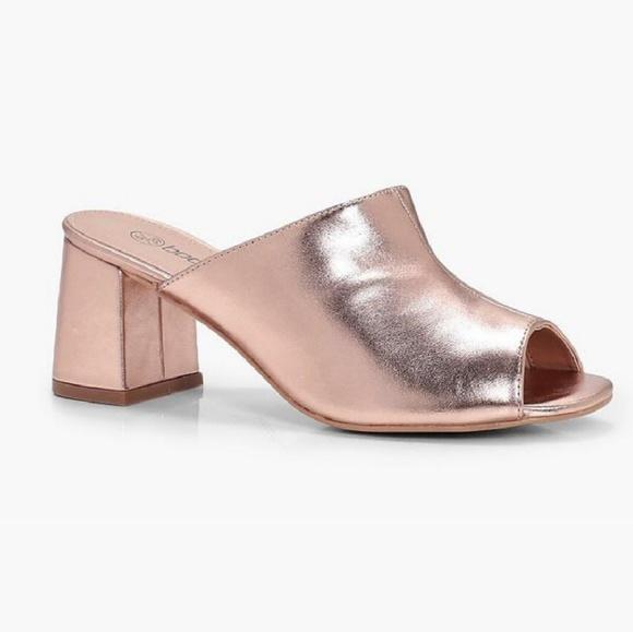 2d2a53cbaa1 Boohoo Shoes - Metallic Rose Gold Wide Width Mule Heels Boohoo